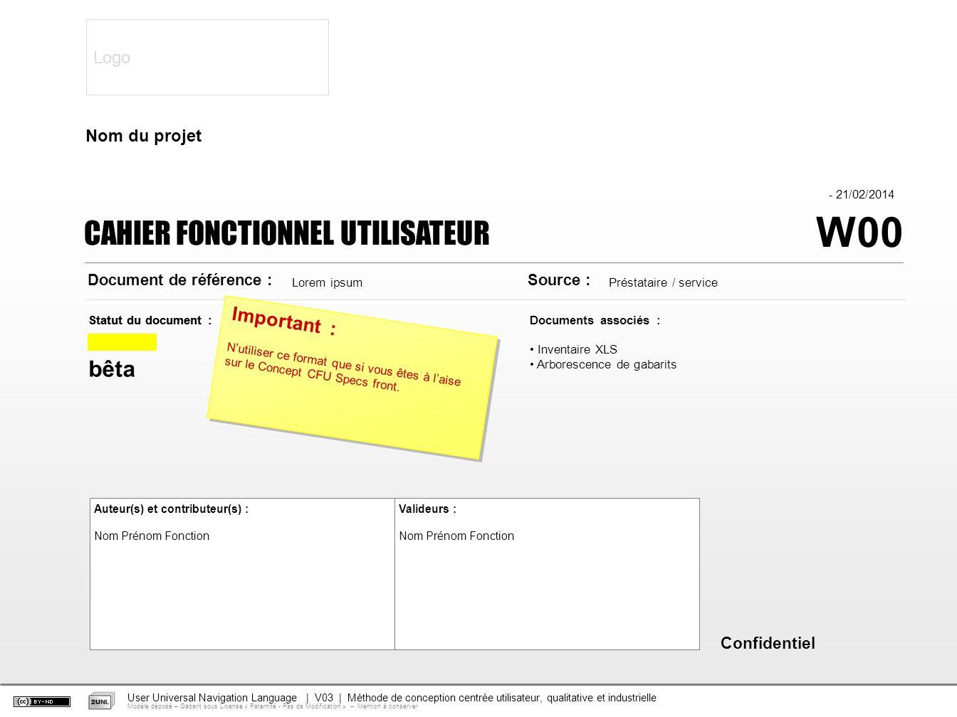 W00 - 21/02/2014 Auteur(s) et contributeur(s) : Nom Prénom Fonction Documents associés : Inventaire XLS Arborescence de gabarits Statut du document :