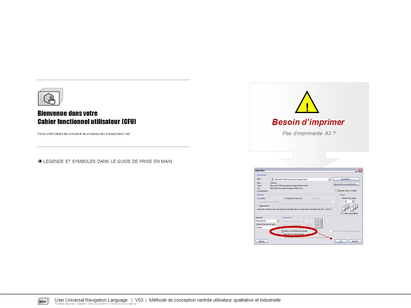 Pas dimprimante A3 ? ! Besoin dimprimer Bienvenue dans votre Cahier fonctionnel utilisateur (CFU) Ce document détails les modules et les processus de
