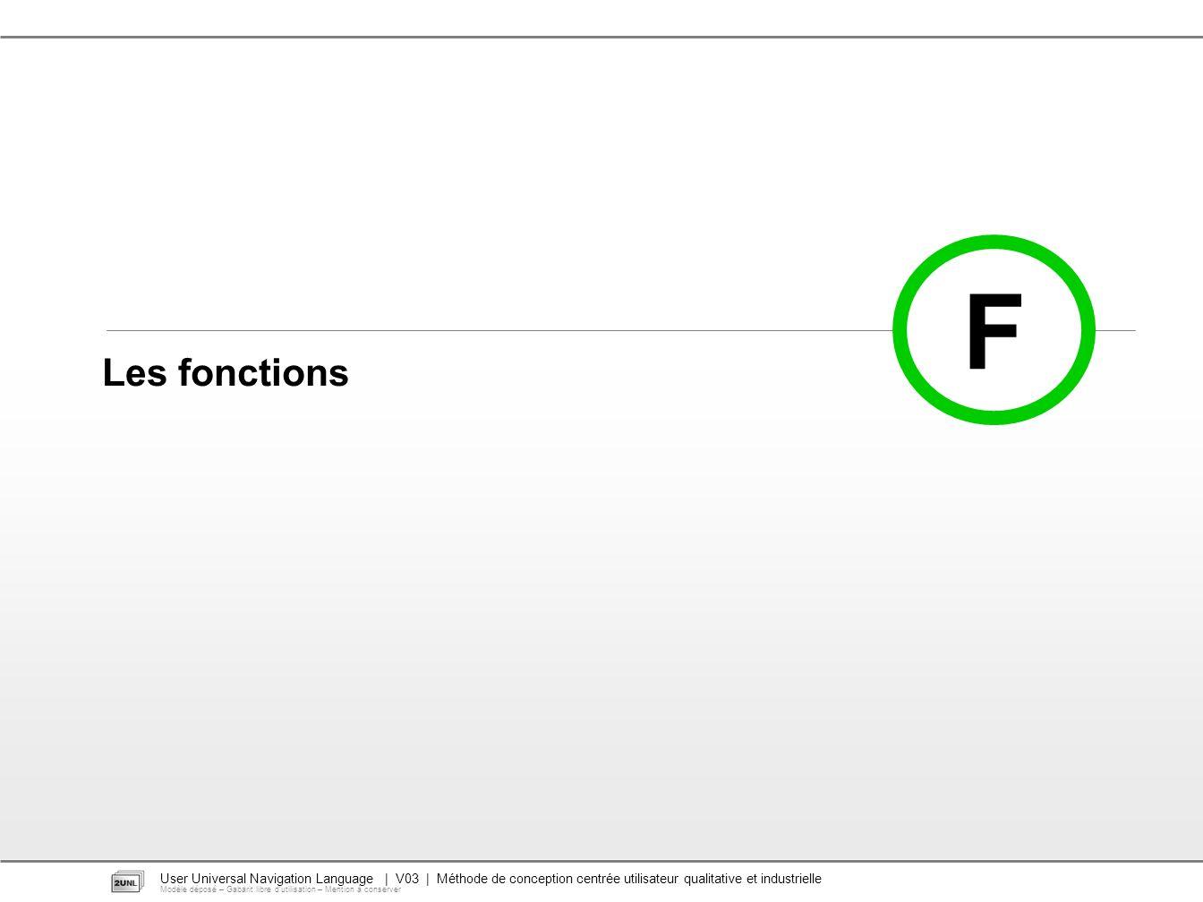 User Universal Navigation Language | V03 | Méthode de conception centrée utilisateur qualitative et industrielle Modèle déposé – Gabarit libre dutilisation – Mention à conserver F Les fonctions