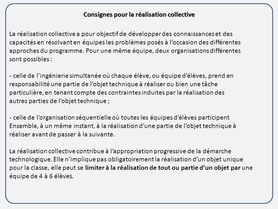 Consignes pour la réalisation collective La réalisation collective a pour objectif de développer des connaissances et des capacités en résolvant en équipes les problèmes posés à loccasion des différentes approches du programme.