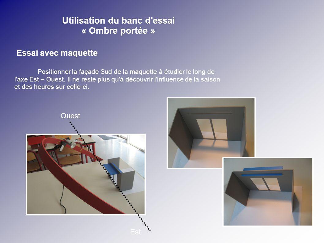 Utilisation du banc d'essai « Ombre portée » Essai avec maquette Positionner la façade Sud de la maquette à étudier le long de l'axe Est – Ouest. Il n