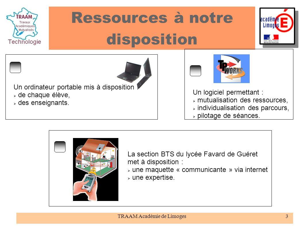 TRAAM Académie de Limoges3 Ressources à notre disposition Un ordinateur portable mis à disposition : de chaque élève, des enseignants. Un logiciel per