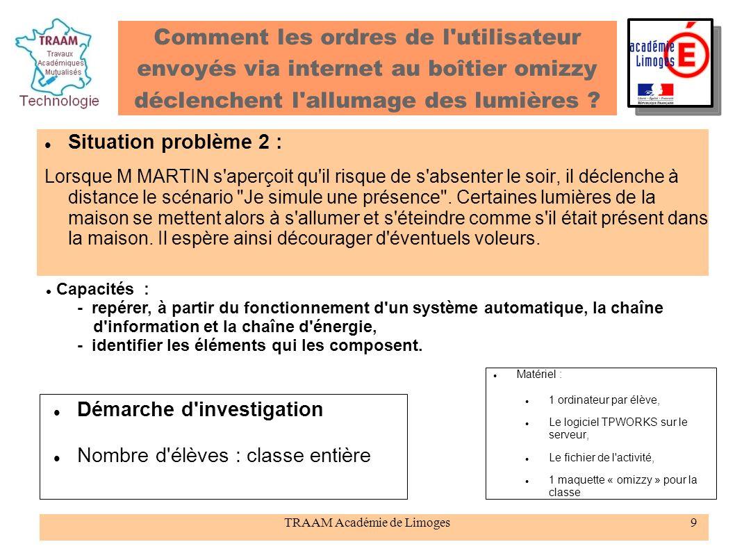 TRAAM Académie de Limoges9 Comment les ordres de l'utilisateur envoyés via internet au boîtier omizzy déclenchent l'allumage des lumières ? Situation