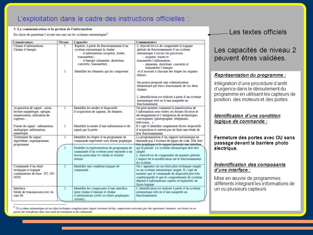 Les textes officiels Les capacités de niveau 2 peuvent êtres validées. Représentation du programme : Intégration dune procédure darrêt durgence dans l