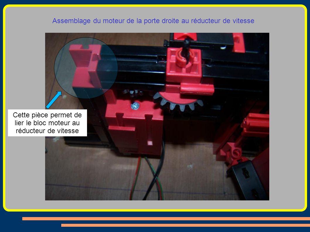 Assemblage du moteur de la porte droite au réducteur de vitesse Cette pièce permet de lier le bloc moteur au réducteur de vitesse