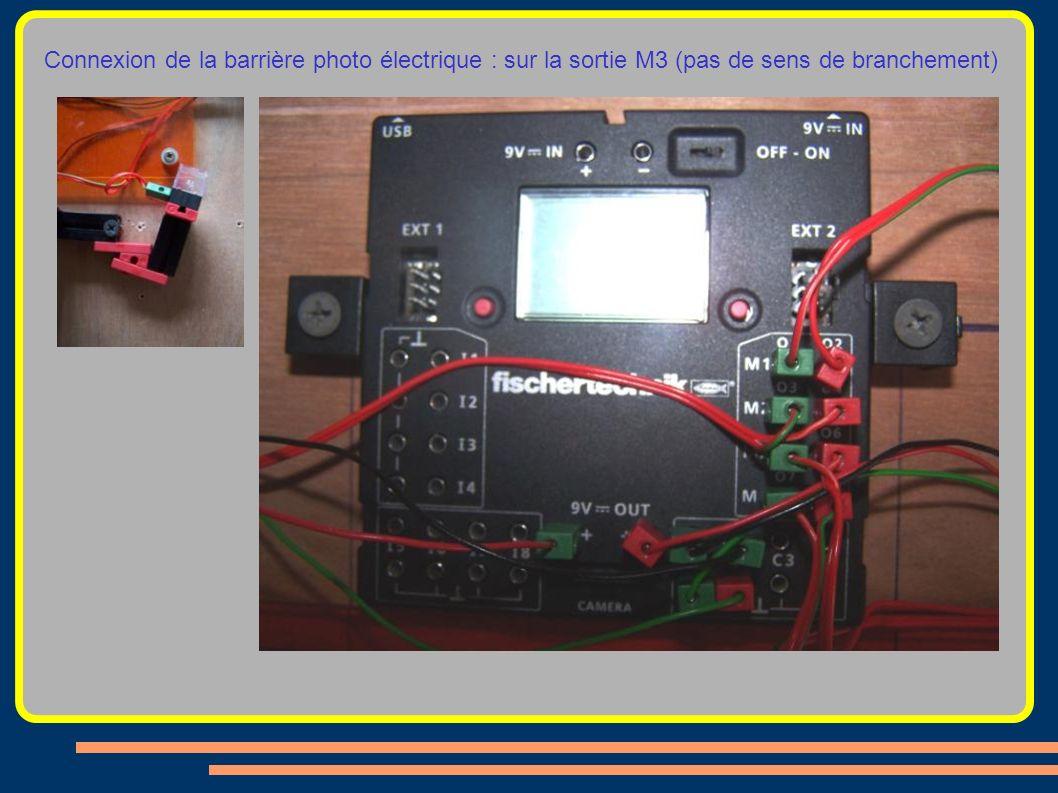 Connexion de la barrière photo électrique : sur la sortie M3 (pas de sens de branchement)