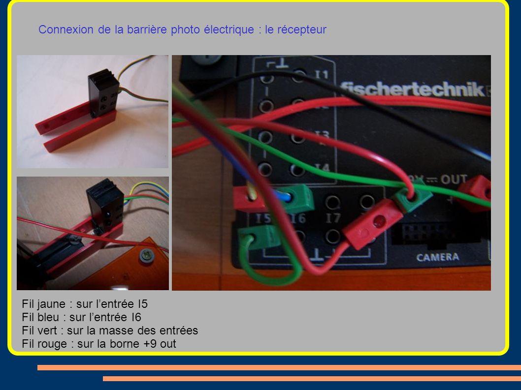 Connexion de la barrière photo électrique : le récepteur Fil jaune : sur lentrée I5 Fil bleu : sur lentrée I6 Fil vert : sur la masse des entrées Fil