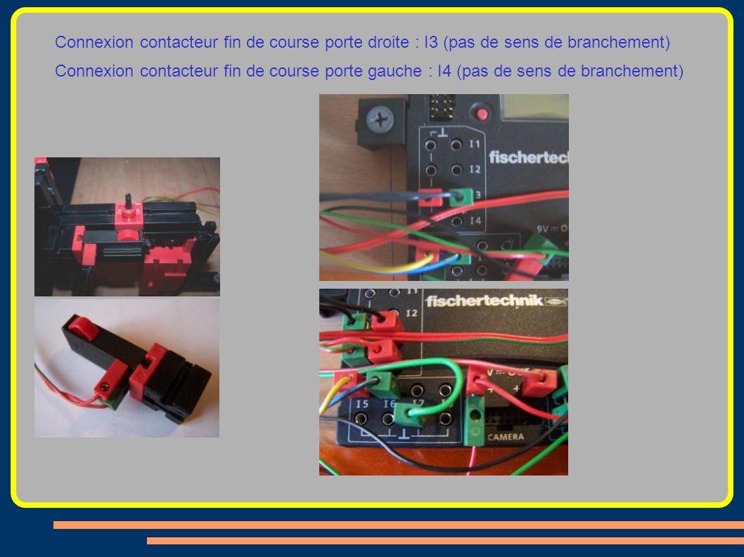 Connexion contacteur fin de course porte droite : I3 (pas de sens de branchement) Connexion contacteur fin de course porte gauche : I4 (pas de sens de