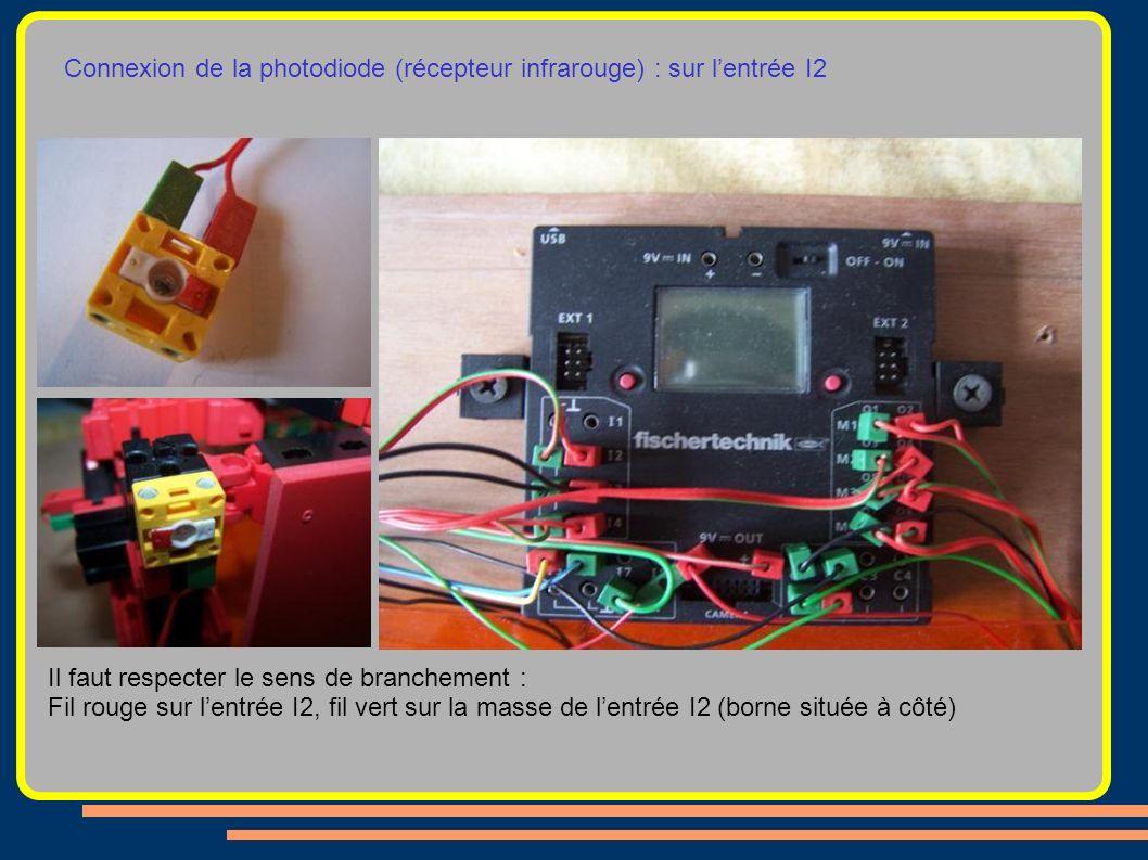 Connexion de la photodiode (récepteur infrarouge) : sur lentrée I2 Il faut respecter le sens de branchement : Fil rouge sur lentrée I2, fil vert sur l