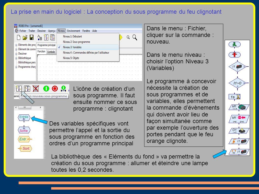 La prise en main du logiciel : La conception du sous programme du feu clignotant Les éléments du fond permettent la programmation Dans le menu : Fichi
