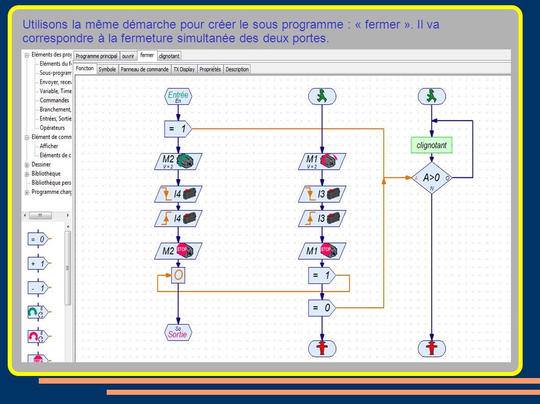 Utilisons la même démarche pour créer le sous programme : « fermer ». Il va correspondre à la fermeture simultanée des deux portes.