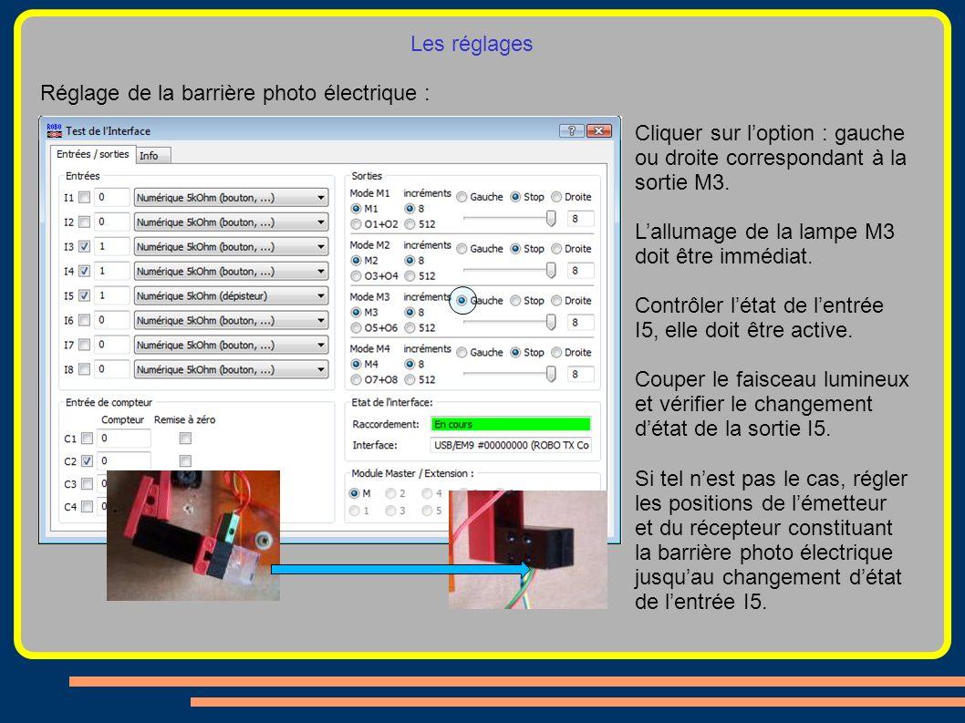 Les réglages Réglage de la barrière photo électrique : Cliquer sur loption : gauche ou droite correspondant à la sortie M3. Lallumage de la lampe M3 d