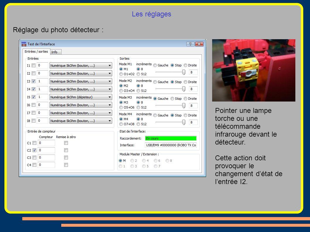 Les réglages Réglage du photo détecteur : Pointer une lampe torche ou une télécommande infrarouge devant le détecteur. Cette action doit provoquer le