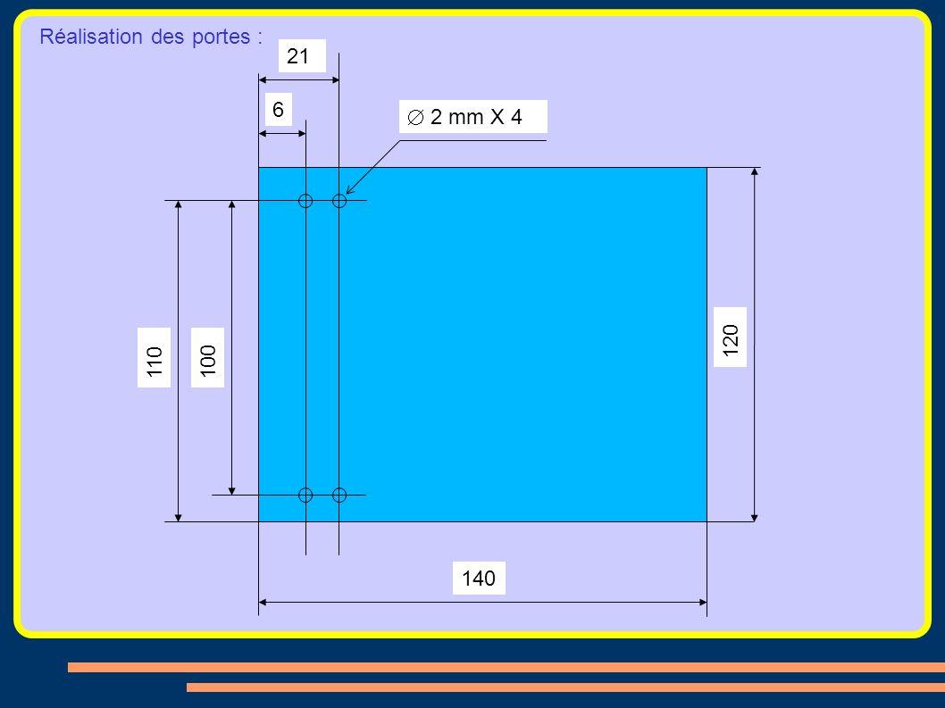 Réalisation des portes : 120 21 110 100 140 6 2 mm X 4