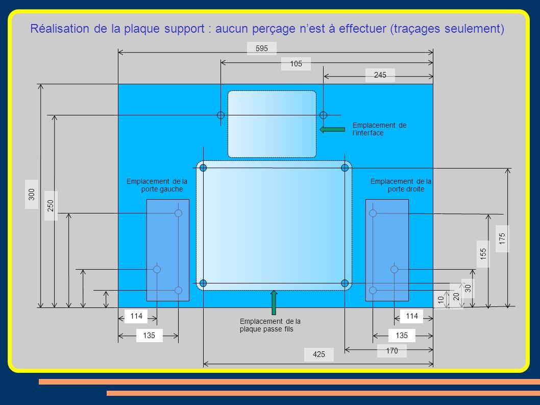 Réalisation de la plaque support : aucun perçage nest à effectuer (traçages seulement) Emplacement de linterface Emplacement de la plaque passe fils E