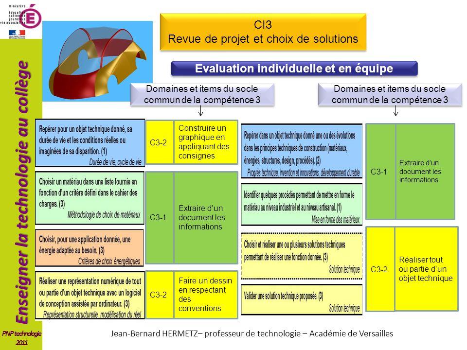 Enseigner la technologie au collège PNP technologie 2011 CI3 Revue de projet et choix de solutions CI3 Revue de projet et choix de solutions Construir
