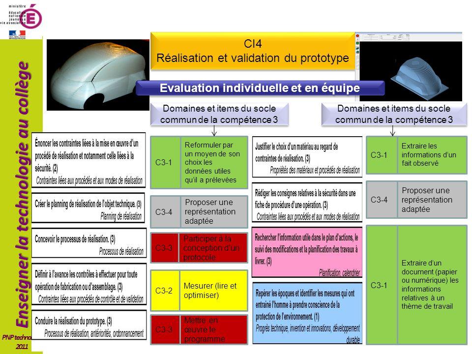 Enseigner la technologie au collège PNP technologie 2011 CI4 Réalisation et validation du prototype CI4 Réalisation et validation du prototype Mettre