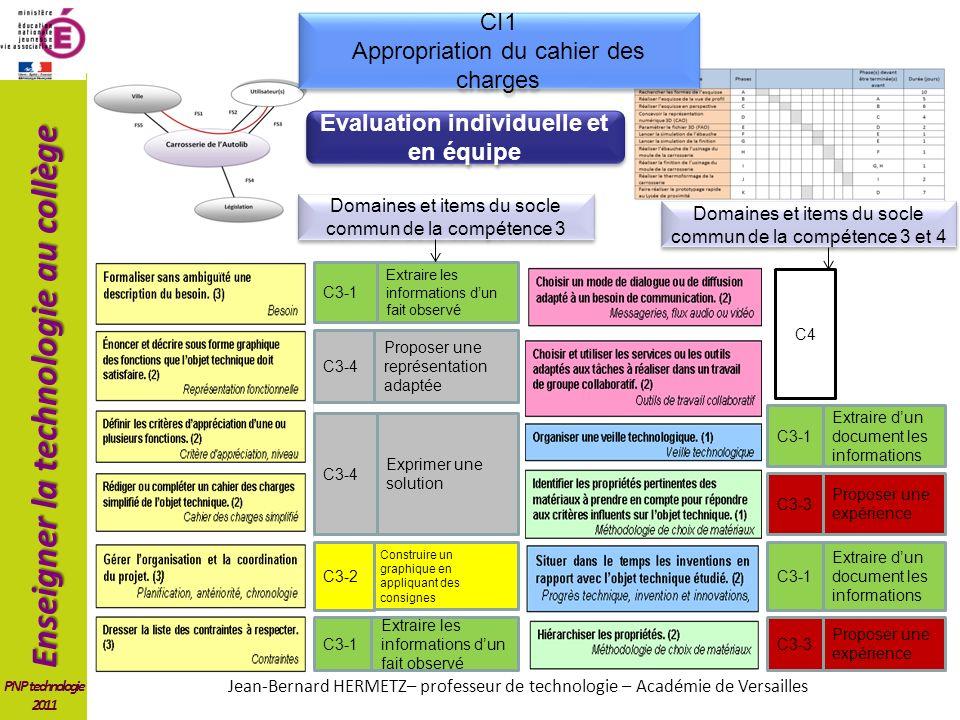 Enseigner la technologie au collège PNP technologie 2011 CI1 Appropriation du cahier des charges CI1 Appropriation du cahier des charges Extraire les