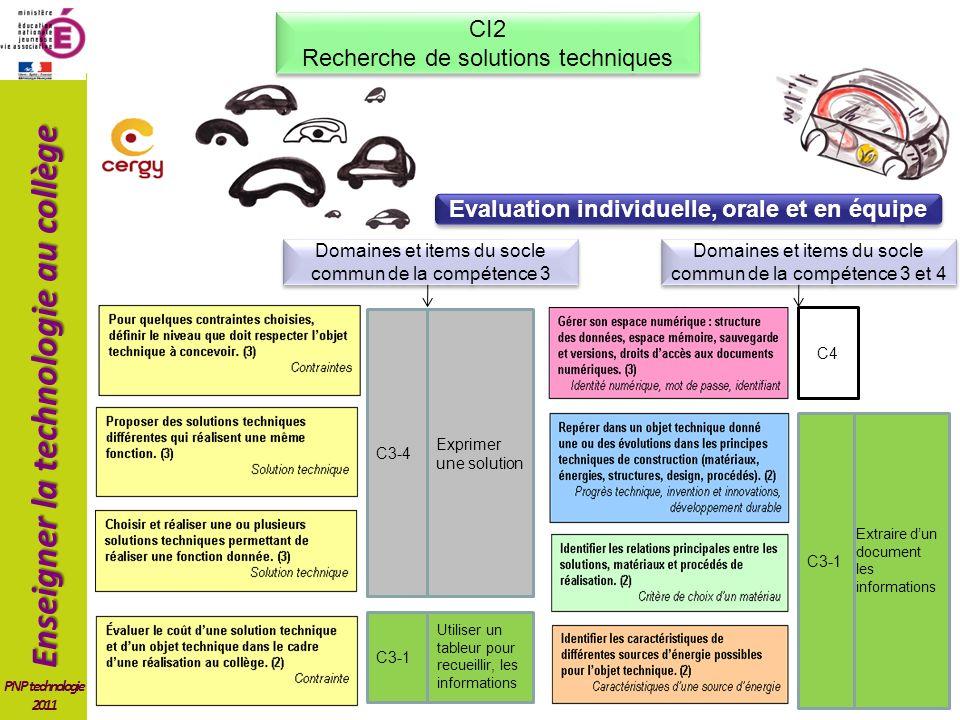 Enseigner la technologie au collège PNP technologie 2011 Exprimer une solution C3-4 Utiliser un tableur pour recueillir, les informations C3-1 C4 Extraire dun document les informations C3-1 Domaines et items du socle commun de la compétence 3 Domaines et items du socle commun de la compétence 3 et 4 CI2 Recherche de solutions techniques CI2 Recherche de solutions techniques Evaluation individuelle, orale et en équipe
