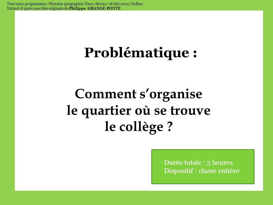 Nouveaux programmes /Histoire-géographie/Deux-Sèvres/ 18 Mai 2009/Nadine Motard daprès une idée originale de Philippe GRANGE-PONTE Problématique : Comment sorganise le quartier où se trouve le collège .