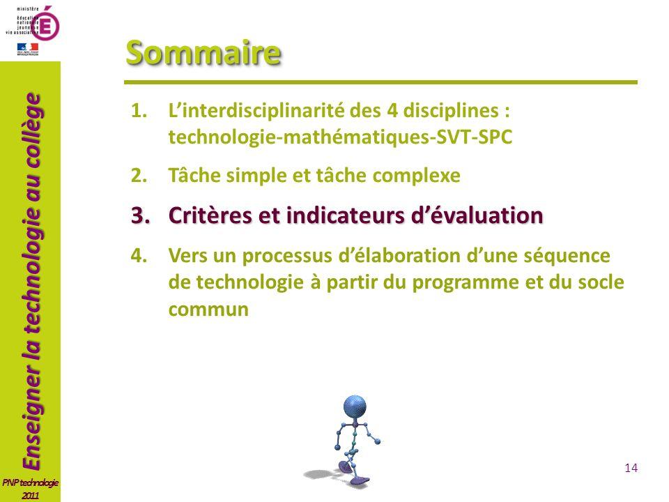 Enseigner la technologie au collège PNP technologie 2011 SommaireSommaire 1.Linterdisciplinarité des 4 disciplines : technologie-mathématiques-SVT-SPC