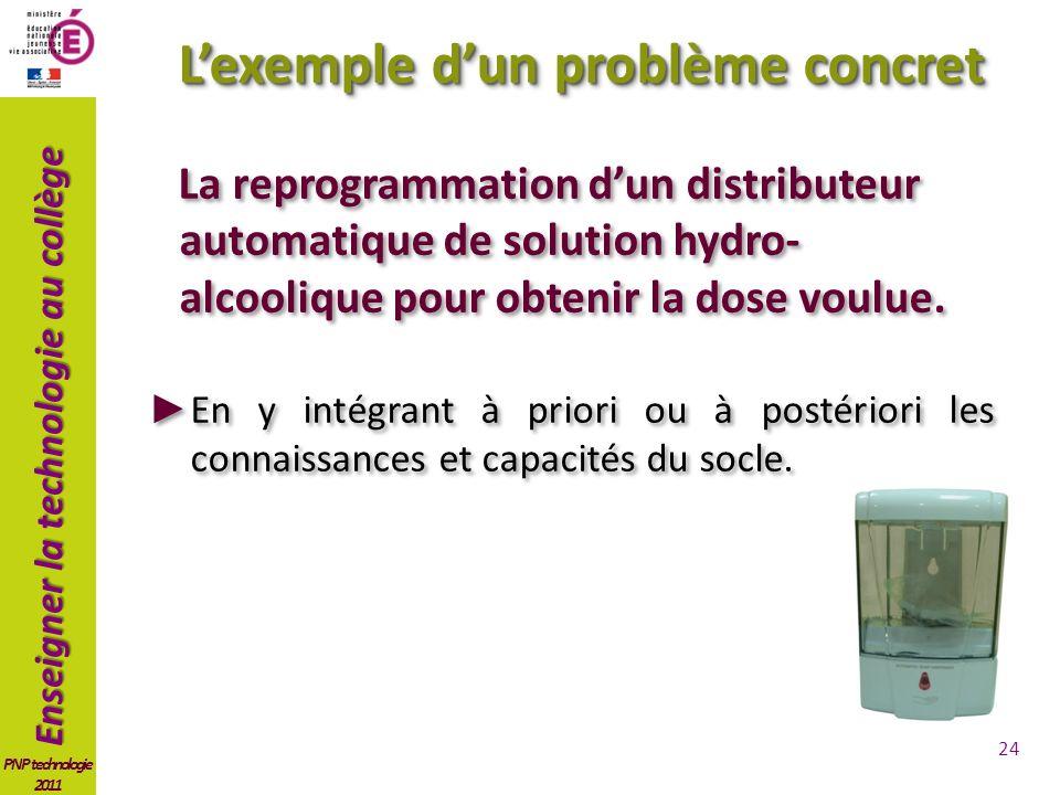Enseigner la technologie au collège PNP technologie 2011 Lexemple dun problème concret La reprogrammation dun distributeur automatique de solution hydro- alcoolique pour obtenir la dose voulue.