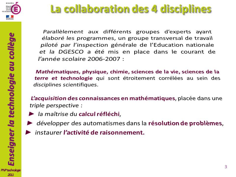 Enseigner la technologie au collège PNP technologie 2011 3 La collaboration des 4 disciplines