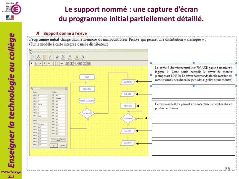 Enseigner la technologie au collège PNP technologie 2011 Le support nommé : une capture décran du programme initial partiellement détaillé.