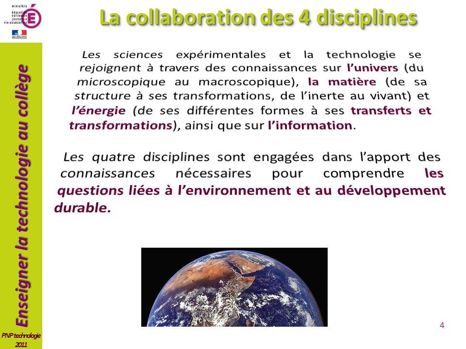 Enseigner la technologie au collège PNP technologie 2011 4 La collaboration des 4 disciplines