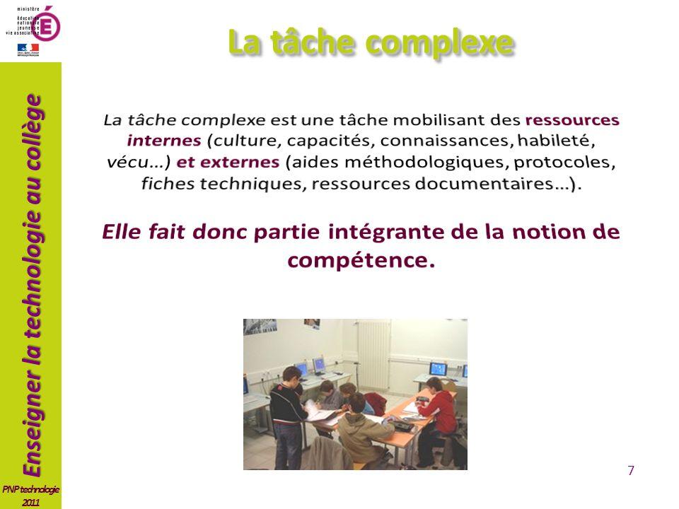 Enseigner la technologie au collège PNP technologie 2011 7 La tâche complexe