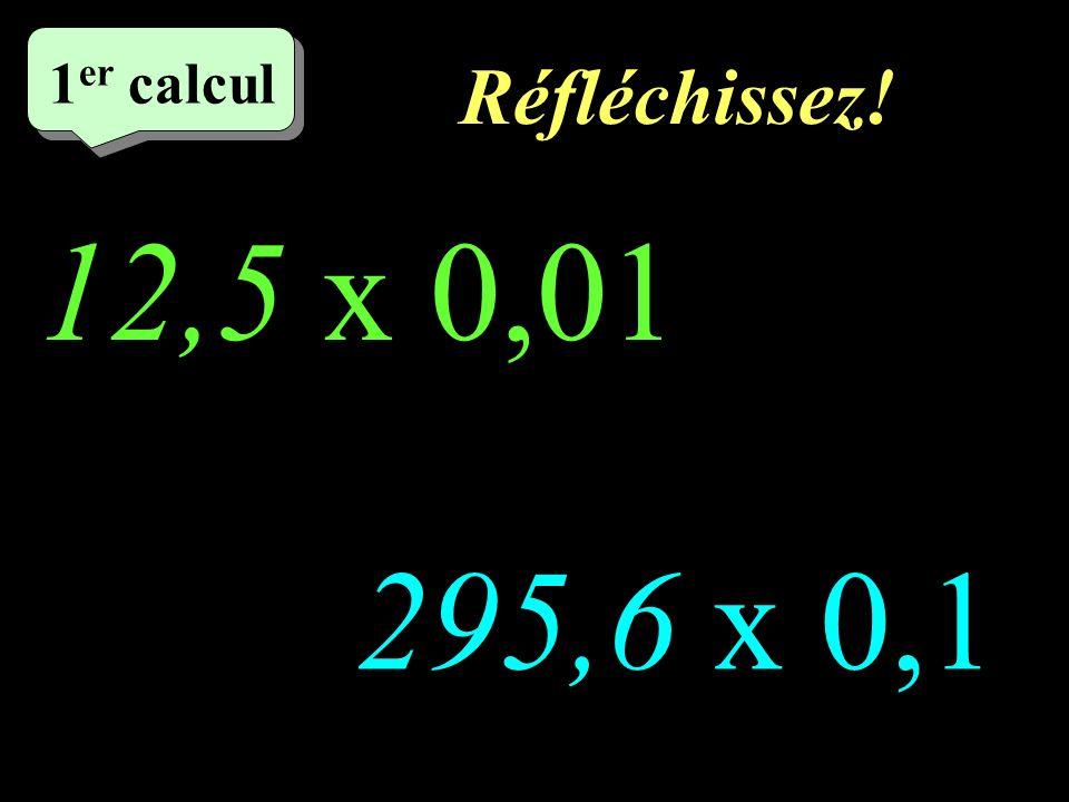 Réfléchissez! –1–1 1 er calcul 12,5 x 0,01 http://welcome.to/masdestraverses 295,6 x 0,1