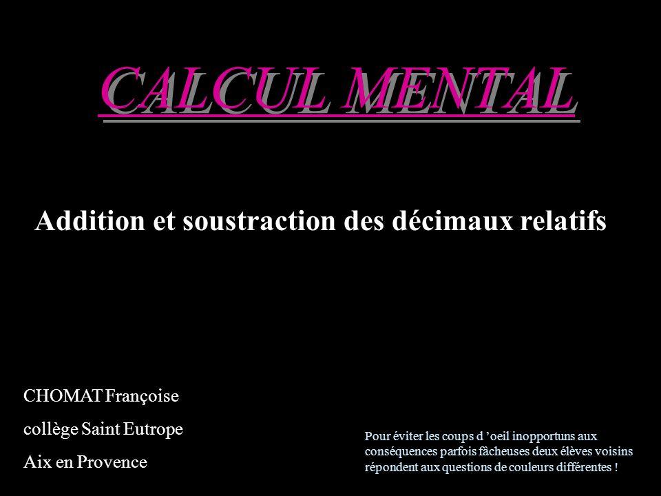 Réfléchissez! (2,5) + (-15) 4,08 + 3,92 5 eme calcul 5 eme calcul 5 eme calcul