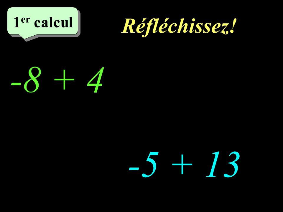 Réfléchissez! –1–1 1 er calcul -8 + 4 http://welcome.to/masdestraverses -5 + 13
