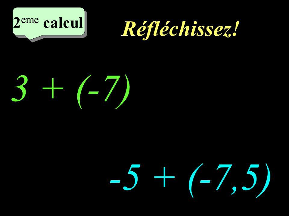 Réfléchissez! 2 eme calcul 3 + (-7) -5 + (-7,5) 2 eme calcul 2 eme calcul 2 eme calcul