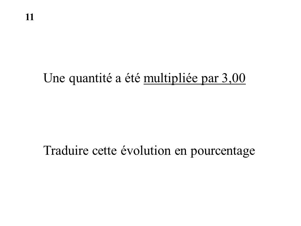 Une quantité a été multipliée par 3,00 Traduire cette évolution en pourcentage 11