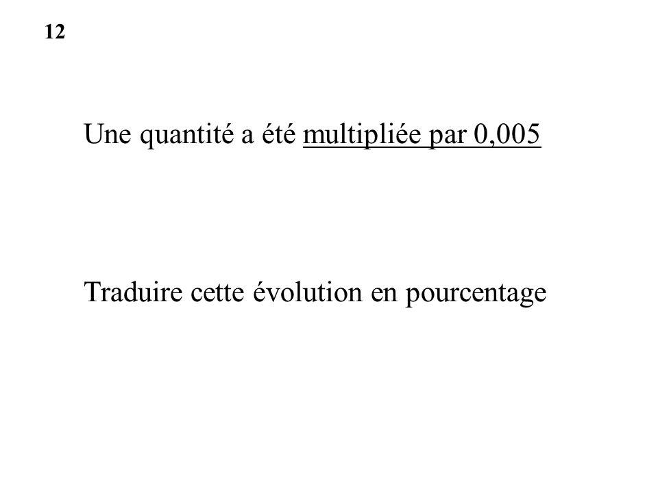 Une quantité a été multipliée par 0,005 Traduire cette évolution en pourcentage 12