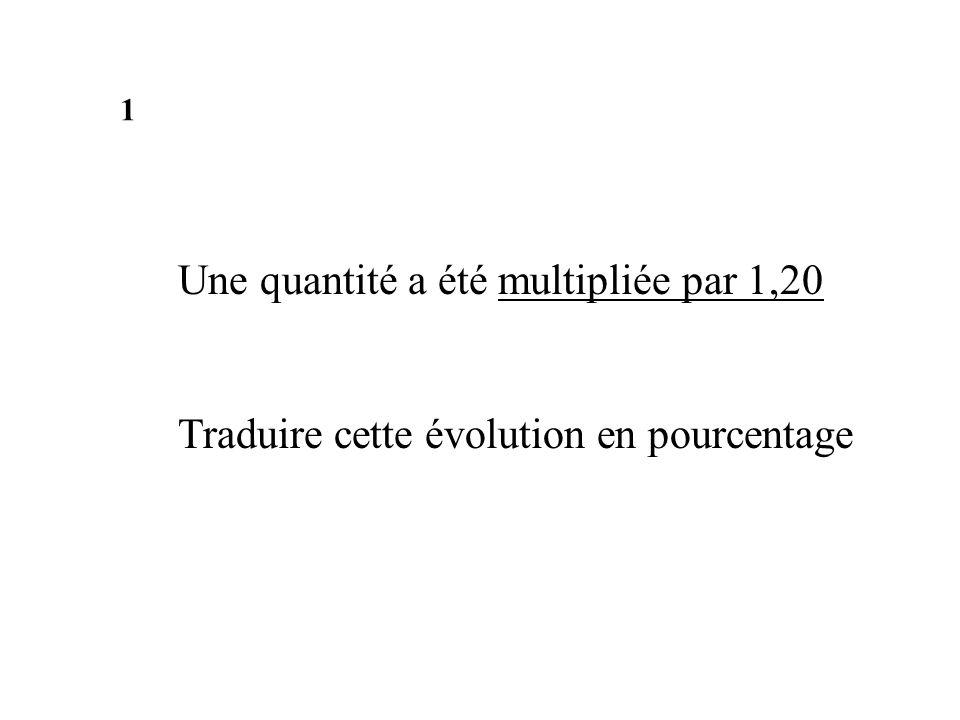 Une quantité a été multipliée par 1,20 Traduire cette évolution en pourcentage 1