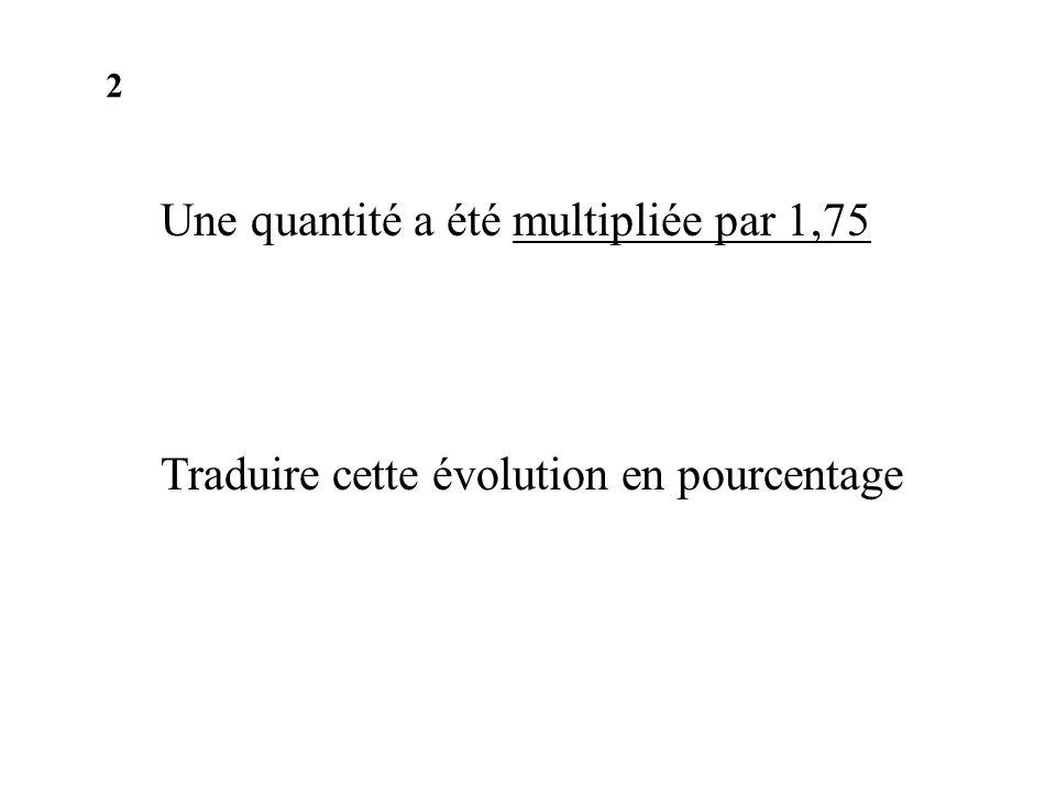Une quantité a été multipliée par 1,75 Traduire cette évolution en pourcentage 2