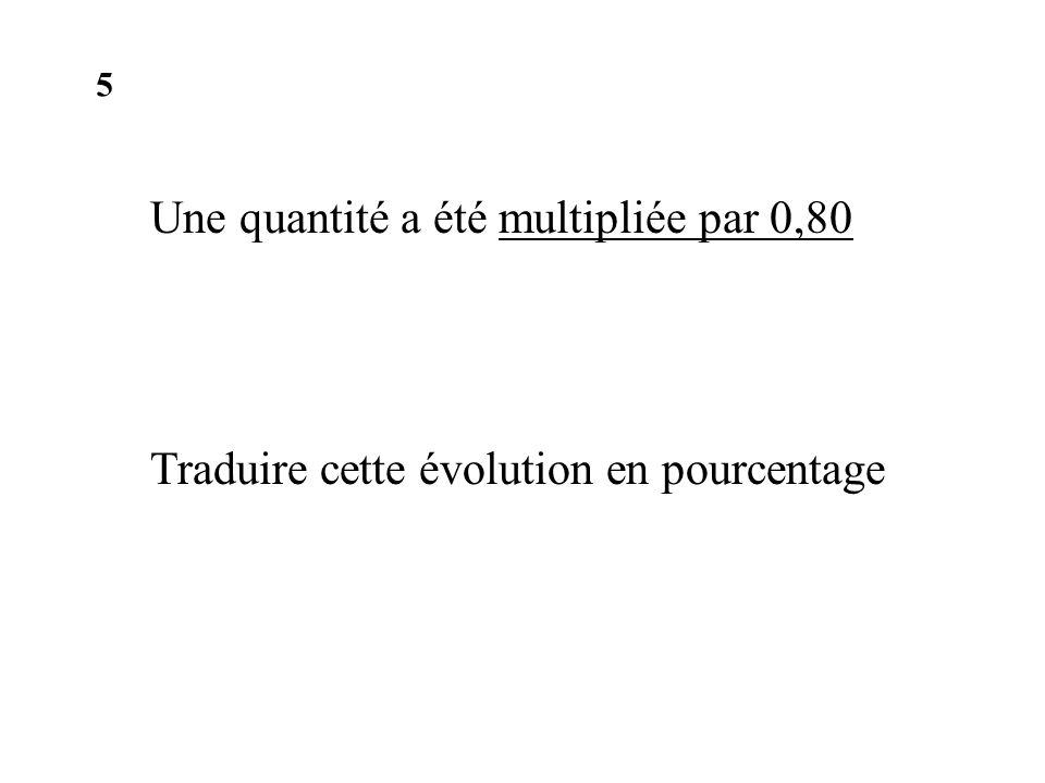 Une quantité a été multipliée par 0,80 Traduire cette évolution en pourcentage 5