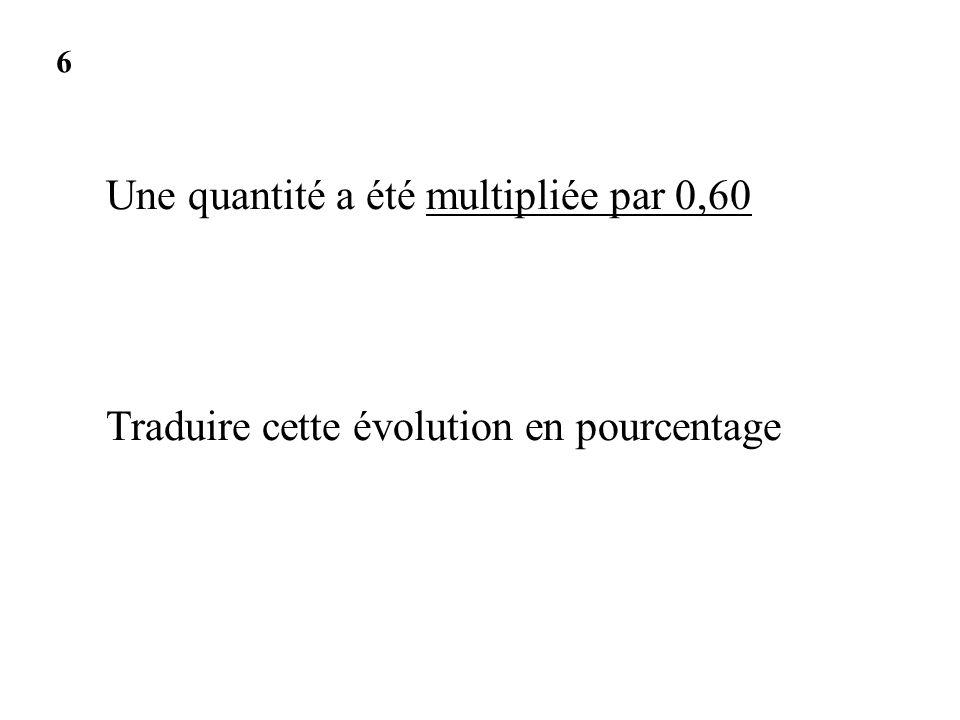 Une quantité a été multipliée par 0,60 Traduire cette évolution en pourcentage 6