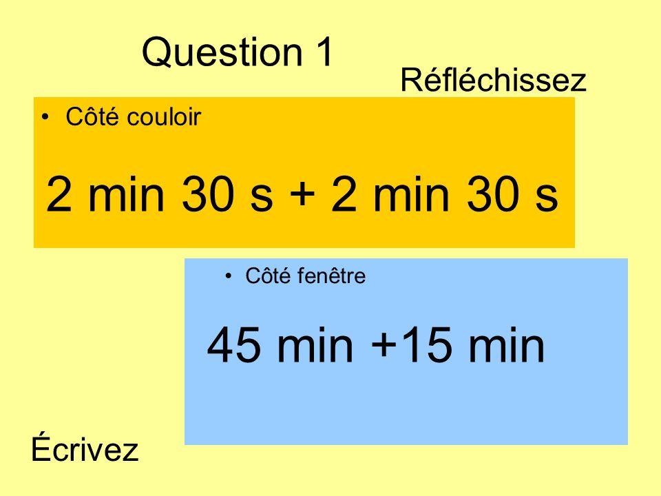 Question 1 Côté couloir Côté fenêtre 45 min +15 min 2 min 30 s + 2 min 30 s Écrivez Réfléchissez
