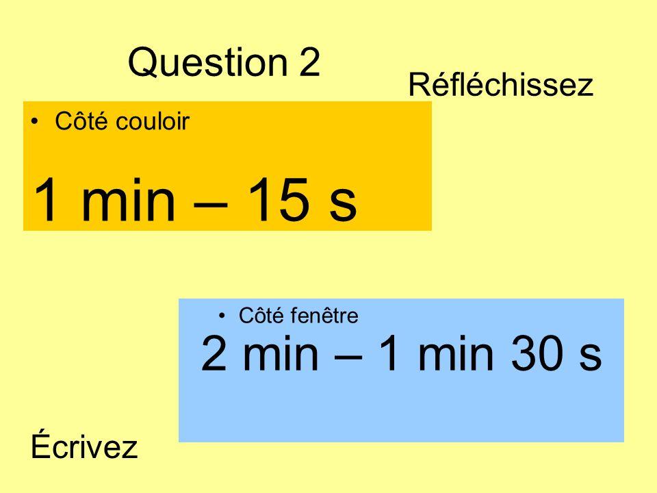 Question 2 Côté couloir Côté fenêtre 2 min – 1 min 30 s 1 min – 15 s Écrivez Réfléchissez