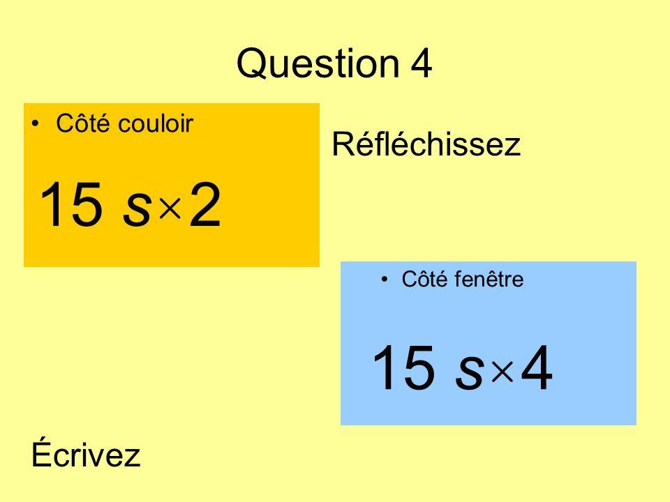 Question 4 Côté couloir Côté fenêtre 15 s × 4 15 s × 2 Écrivez Réfléchissez
