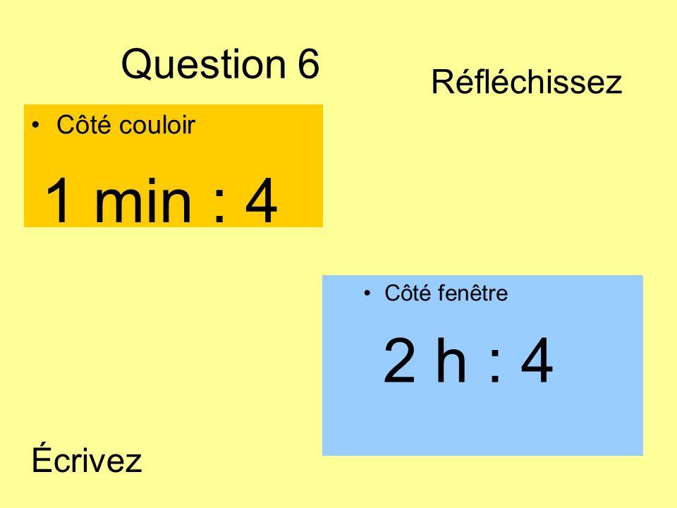 Question 6 Côté couloir Côté fenêtre 2 h : 4 1 min : 4 Écrivez Réfléchissez