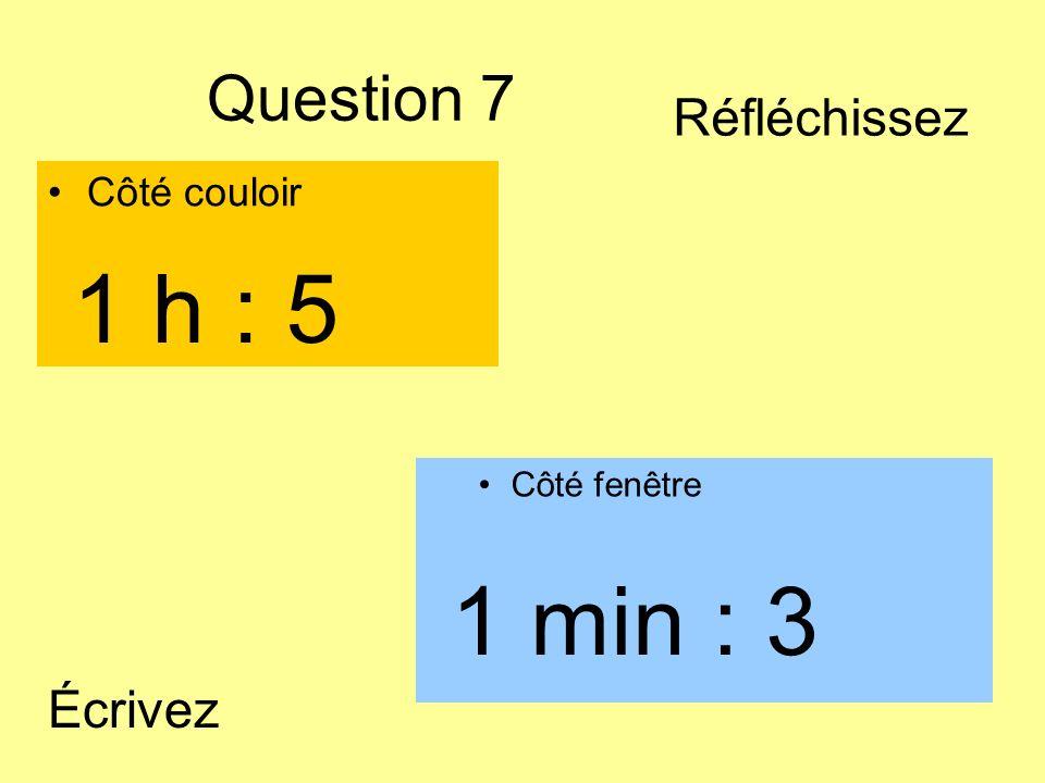 Question 7 Côté couloir Côté fenêtre 1 min : 3 1 h : 5 Écrivez Réfléchissez