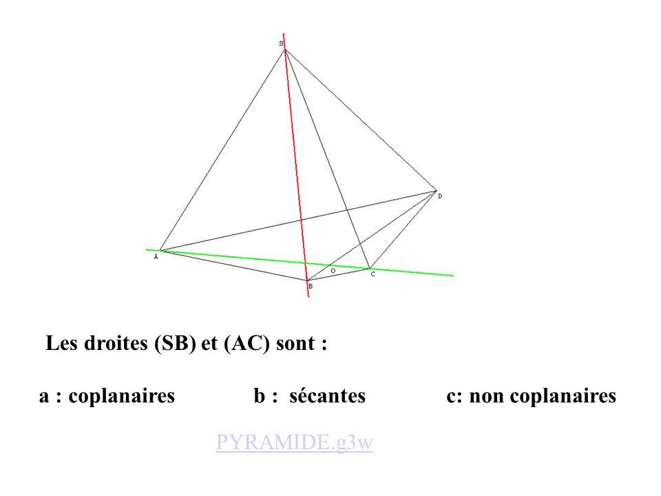 a : coplanaires b : sécantes c: non coplanaires Les droites (SB) et (AC) sont : PYRAMIDE.g3w