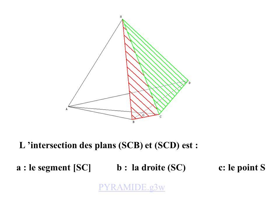 a : le segment [SC] b : la droite (SC) c: le point S L intersection des plans (SCB) et (SCD) est : PYRAMIDE.g3w