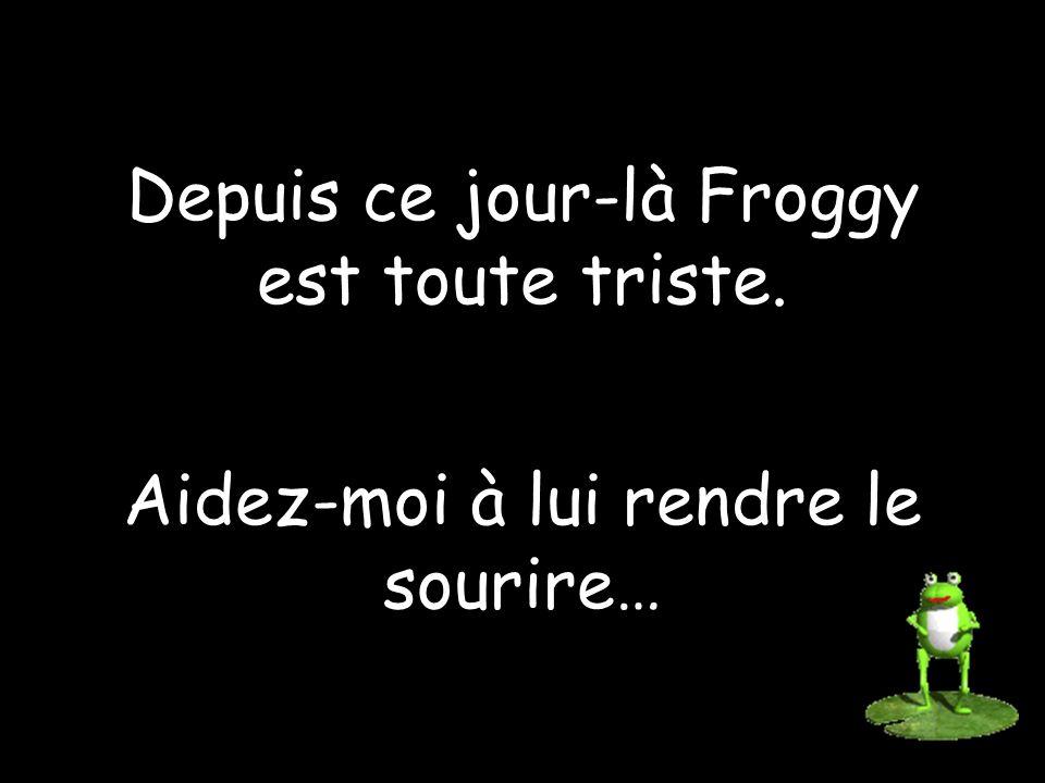Depuis ce jour-là Froggy est toute triste. Aidez-moi à lui rendre le sourire…