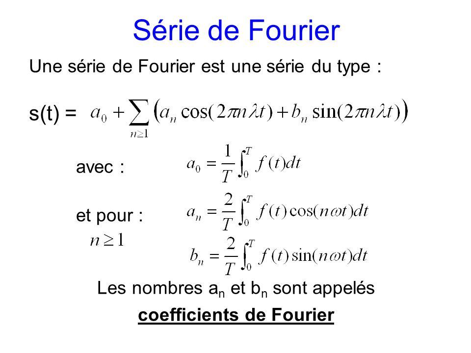 Série de Fourier Une série de Fourier est une série du type : s(t) = avec : et pour : Les nombres a n et b n sont appelés coefficients de Fourier