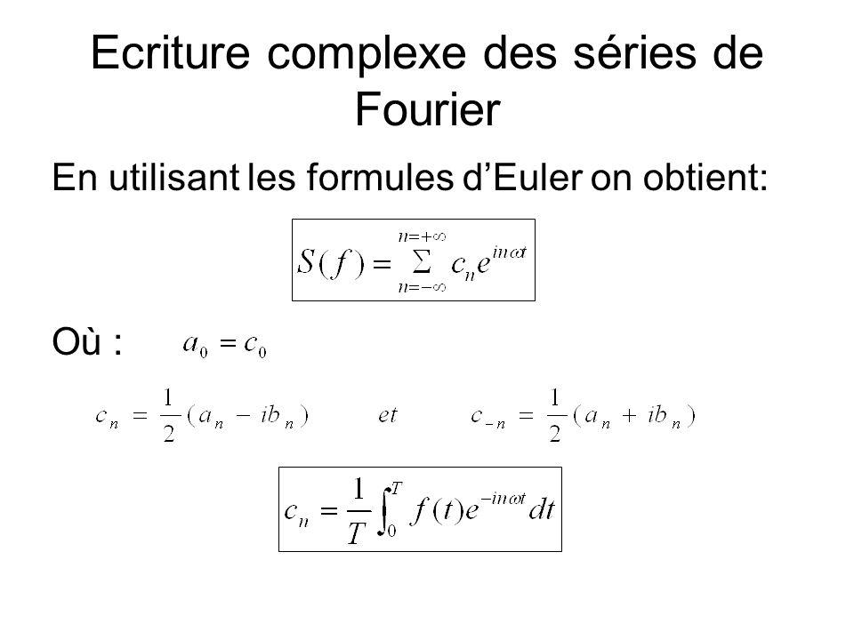 Ecriture complexe des séries de Fourier En utilisant les formules dEuler on obtient: Où :